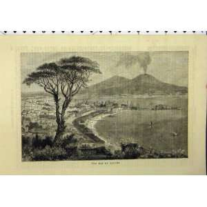 View Bay Naples Town Beach Mountains Victorian Print