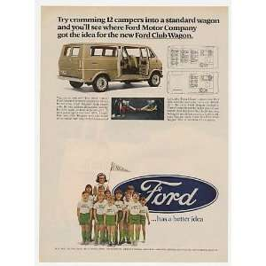 1968 Ford Club Wagon Kids Campers Print Ad (23966)