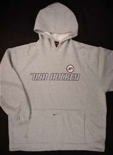 USA HOCKEY Olympic Embroidered Hoodie Sweatshirt (Mens XXL) Grey