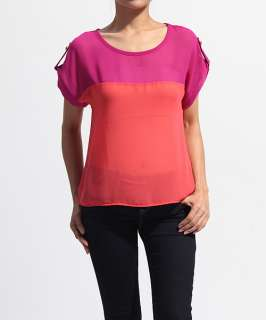 MOGAN Button Tab Dolman Sleeve COLORBLOCKED BLOUSE Modern Sheer Crepe