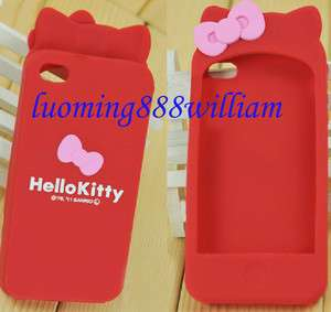 Long Ear Hello Kitty Silicone Back Cover Case IPHONE 4 4S~ Red