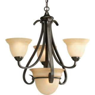 Progress Lighting Torino Collection Forged Bronze 3+1 Light Chandelier