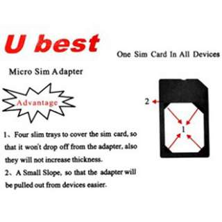 Ubest Micro Sim Karten Adapter Apple iPhone 3 4, iPad 2, Microsim Card