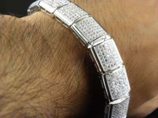 MENS WHITE GOLD FINISH CZ HIP HOP BRACELET 38 C