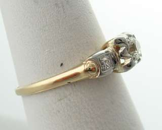 Vintage Estate 1/4ct Genuine Diamonds Solid 14k Two Tone Gold Ring