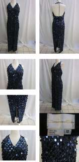 CASSANDRA STONE BEAUTIFUL SPARKY DARK BLUE SEQUINS BLACK EVENING GOWN