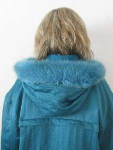 LUNDSTROM TEAL WOOL LADIES LA PARKA FAUX FUR HOODED COAT JACKET~S