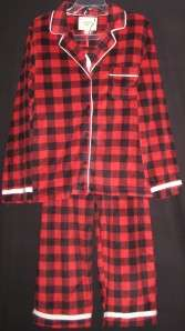 CUDDL DUDS RED BLACK CHECK WHITE TRIM WARM SOFT FLEECE COAT PAJAMAS