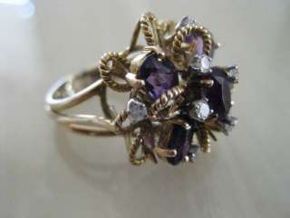 Gold AMETHYST & DIAMOND RING FEBRUARY Birthstone Valentines