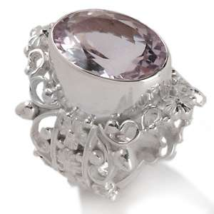 Gems™ 7ct Pink Amethyst Sterling Silver Filigree Ring