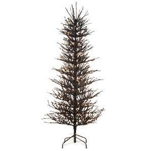 Pre Lit Fire Black Tinsel Artificial Christmas Twig Tree   Clear