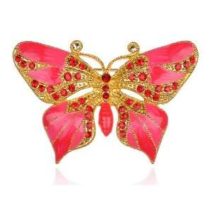 Hyacinth Pink Cute Gold Tone Crystal Rhinestone Butterfly Brooch Pin