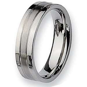 Chisel Grooved Brushed and Polished Stainless Steel Ring