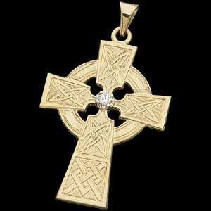 14k Yellow Gold Celtic Cross Pendant w/Diamond Accent Jewelry