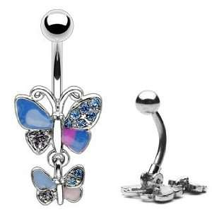 Pave Gem Wing Double Butterfly Dangle Belly Button Hinged Ring B422