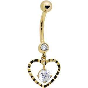Solid 14k Yellow Gold Modish Heart Belly Ring Jewelry
