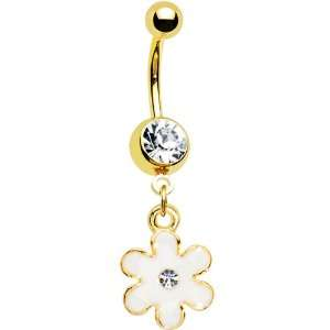 Gold IP Clear CZ White Posy Flower Belly Ring Jewelry
