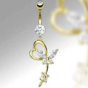 14K Gold Cubic Zirconia Belly Ring with Heart and Butterfly Dangle