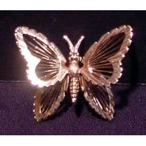 Monet Gold Tone Butterfly Brooch Pin
