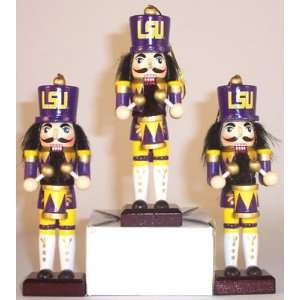 LOUISIANA STATE LSU TIGERS 3 NUTCRACKER CHRISTMAS ORNAMENTS