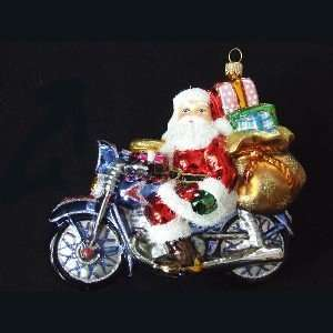Kurt Adler Polonaise Santa On Motorbike Glass Ornament