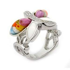 Murano Glass Millefiori Butterfly Sterling Silver Ring