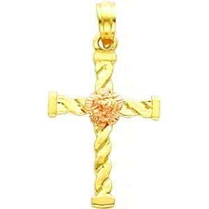 14K Two Tone Gold Twisted Cross Flower Pendant Jewelry