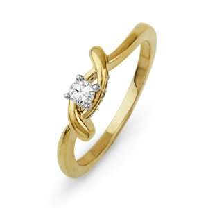 Yellow Gold Round Diamond Promise Ring (1/6 cttw) D GOLD Jewelry