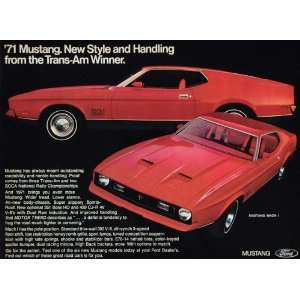 1971 Ad Red Ford Mustang Mach 1 Fastback Boss Race Car