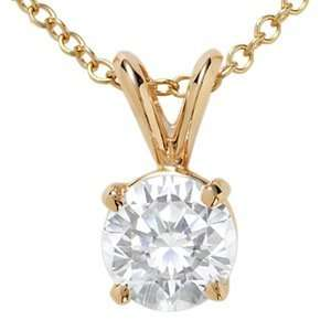 18k Yellow Gold, Round Diamond Solitaire Pendant with Chain (1.00 ct)