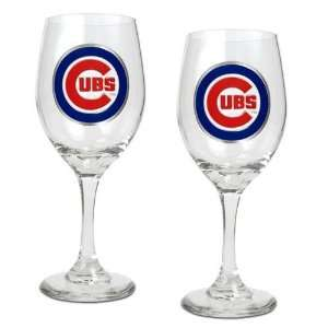 Chicago Cubs MLB 2pc Wine Glass Set   Primary Logo Sports