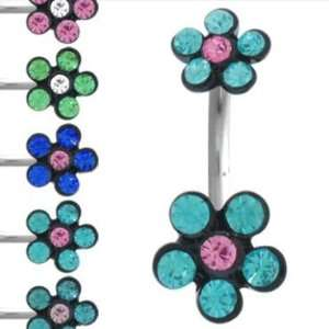 316L Surgical Steel  Blue Pink Flower   Bellly Rings   14g 3/8 Length