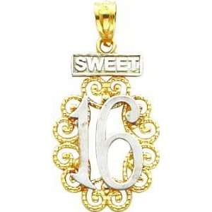 14K Two Tone Gold Sweet 16 Charm Jewelry