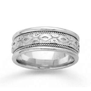 14k White Gold Modern Style Hand Carved Wedding Band Jewelry