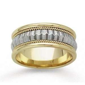 14k Two Tone Gold Elegance Milgrain Hand Carved Wedding Band Jewelry