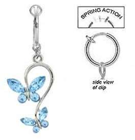 Fake Belly Navel Non Clip on Piercing 2 Lt Blue Butterfly Dangle Ring