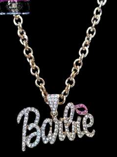 Nicki Minaj 2 BARBIE Iced Out Necklace Gold/Clear