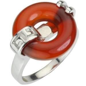 Good Luck Red Jade Platinum Overlay Sterling Silver Ring