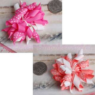 2x Girl Baby Boutique Corker Hair Bows Clip Ribbon New [SKU 12